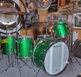 John Bonham Ludwig Green Sparkle Drum Kit